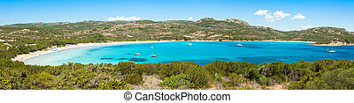 Panoramic view of Rondinara beach in Corsica Island in France