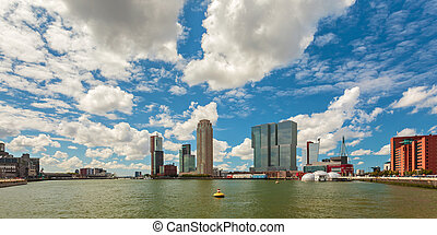Panoramic view of Rotterdam Rijnhaven during a sunny day in The Netherlands