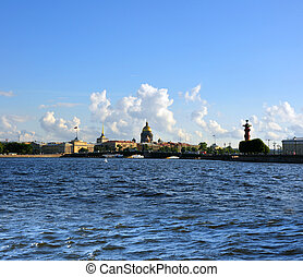 Panoramic view of Saint Petersburg from Neva river....