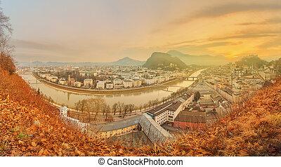 Panoramic view of Salzburg, Salzburger Land, Austria