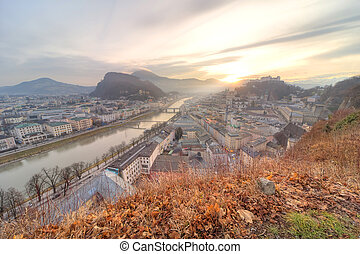 Panoramic view of Salzburg skyline with Festung...