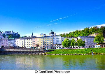 Panoramic view of Salzburg skyline with river Salzach, Salzburger Land, Austria