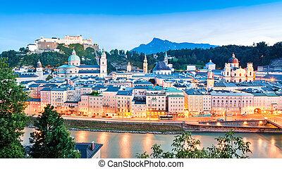 Panoramic view of Salzburg skyline with river Salzach at...