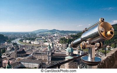 View point with telescope near Salzburg Castle, Austria