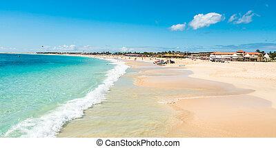 Panoramic view of Santa Maria beach in Sal Cape Verde - Cabo...