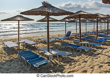 Panoramic view of Sarti Beach at Sithonia peninsula,...