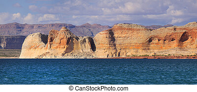 Panoramic view of scenic Lake Powell landscape