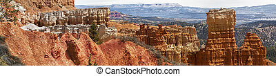 panoramic view of sedimentary rock formations in bryce...