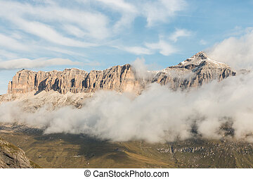 Sella Group massif with Piz Boe peak in Dolomites, Italy
