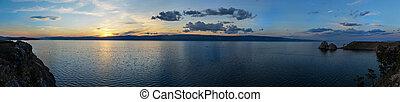 Panoramic View of Shaman Rock at Sunset, Island of Olkhon, Lake Baikal, Russia on a Summer Day.