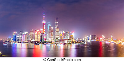 panoramic view of shanghai at night