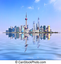 Shanghai - Panoramic view of Shanghai city with reflection