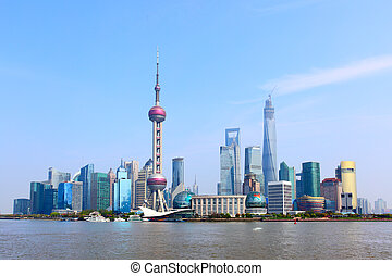 Shanghai skyline - Panoramic view of Shanghai skyline, China