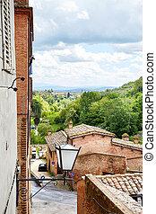 Panoramic view of Siena city, Italy
