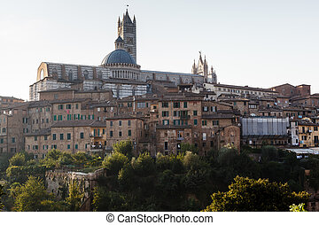 Panoramic View of Siena with the Cathedral in Background, Tuscany, Italy