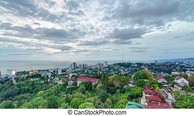 Panoramic view of Sochi city timelapse - resort at Black Sea coast of Russia, Krasnodar krai.