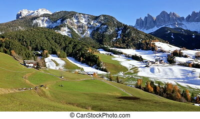 panoramic view of St. Maddalena village, Dolomites, Italy -...