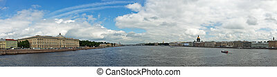 Panoramic view of St. Petersburg from the bridge