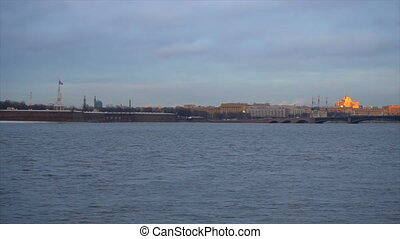 Panoramic view of St. Petersburg from the Neva River to the...