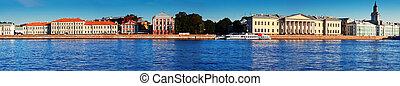 panoramic view of St. Petersburg. Universitetskaya Embankment