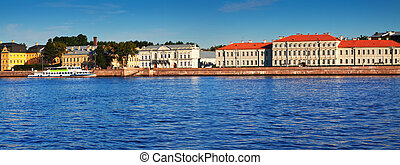 Petersburg. Vasilyevsky Island in summer day - Panoramic ...
