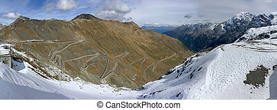 Panoramic view of Stelvio Pass, mountain pass named Stilfser...