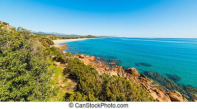 Panoramic view of Su Sirboni beach