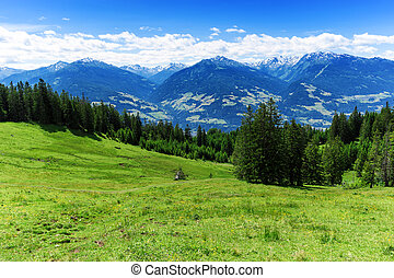 Panoramic view of summer mountain scenery in the Alps. Austria, Tyrol.