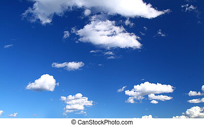 panoramic view of summer sky with cumulus clouds, image made...