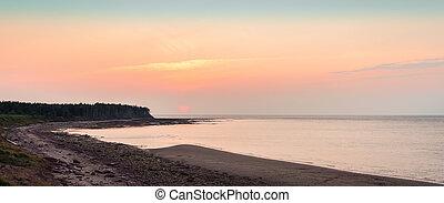 Panoramic view of sunset at Northumberland Strait near the Confederation Bridge