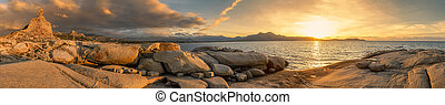 Panoramic view of sunset over Calvi in Corsica