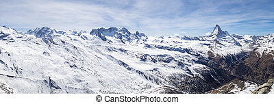 Panoramic view of Swiss Alps and Matterhorn