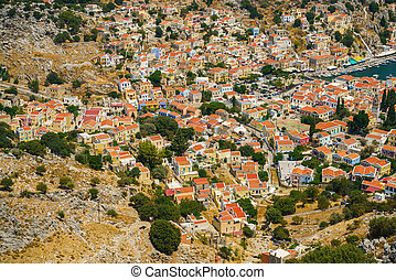 Panoramic view of Symi island in Greece