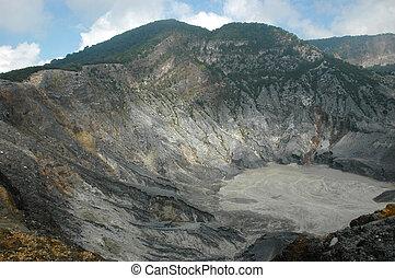 panoramic view of tangkuban perahu crater in bandung, west java-indonesia