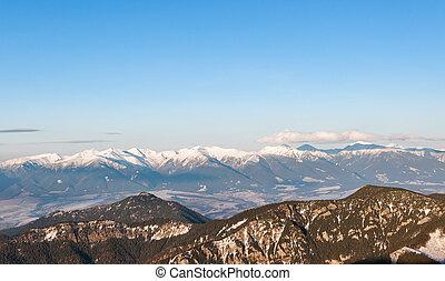 Panoramic view of Tatra Mountains from Chopok peak