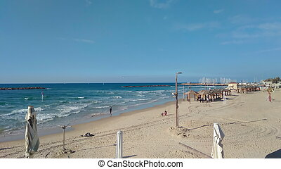 Panoramic view of Tel-Aviv winter beach (Mediterranean sea. Israel)