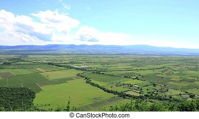 Panoramic view of the Alazani valley from the height of the...