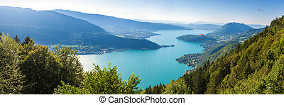 Panoramic view of the Annecy lake from Col du Forclaz