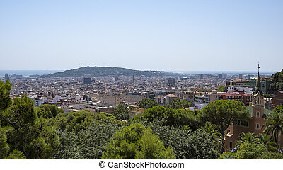 Panoramic view of the Barcelona city