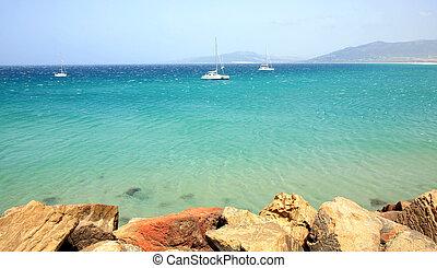 Panoramic view of the beach and ocean in Tarifa Spain