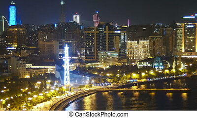 Panoramic View of the Big City Megalopolis by the Sea at Night. Baku, Azerbaijan. Time Lapse