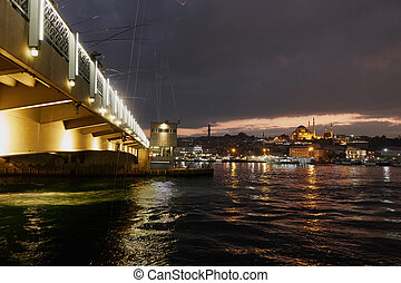panoramic view of the bridge at night Turkey Istanbul