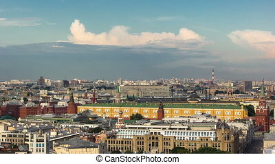 Panoramic view of the building from the roof of center Moscow timelapse, Russia