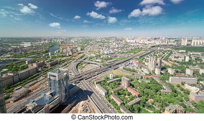Panoramic view of the building from the roof of Moscow International Business Center timelapse, Russia