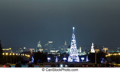 Panoramic view of the building from the sparrow hills of center Moscow timelapse, Russia