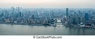 panoramic view of the bund in shanghai