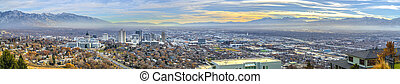 Panoramic view of the bustling downtown in Salt Lake City Utah
