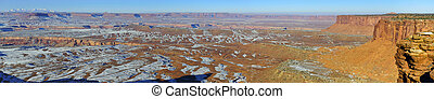 panoramic view of the Canyonlands National Park, Utah in winter
