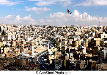 Panoramic view of the city of Amman, Jordan - tilt-shift ...