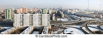 panoramic view of the city of Moscow in winter